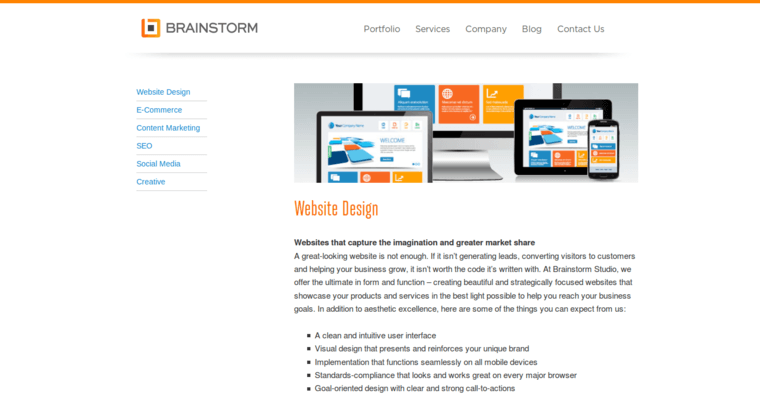 Service Page of Top Web Design Firms in New York: Brainstorm Studio