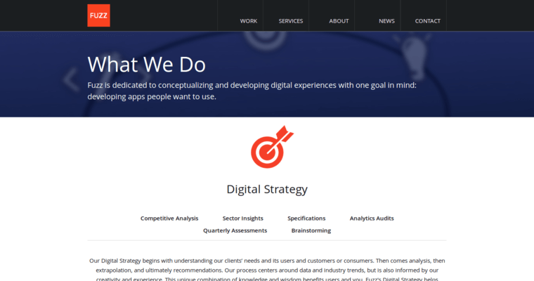 Service Page of Top Web Design Firms in New York: Fuzz Productions