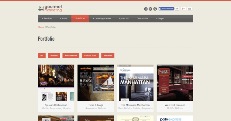 Folio Page of Top Web Design Firms in New York: Gourmet Marketing