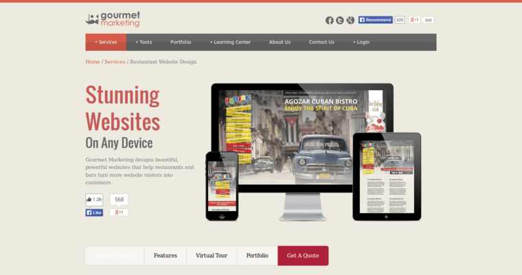 Service Page of Top Web Design Firms in New York: Gourmet Marketing