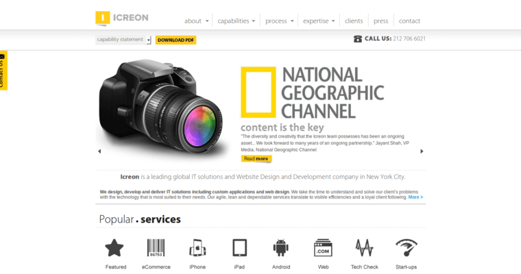 Home Page of Top Web Design Firms in New York: Icreon