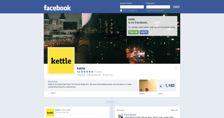 Facebook Page of Top Web Design Firms in New York: Kettle