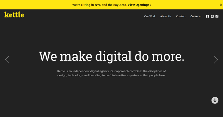 Home Page of Top Web Design Firms in New York: Kettle