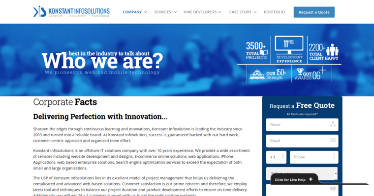 About Page of Top Web Design Firms in New York: Konstant Infosolutions