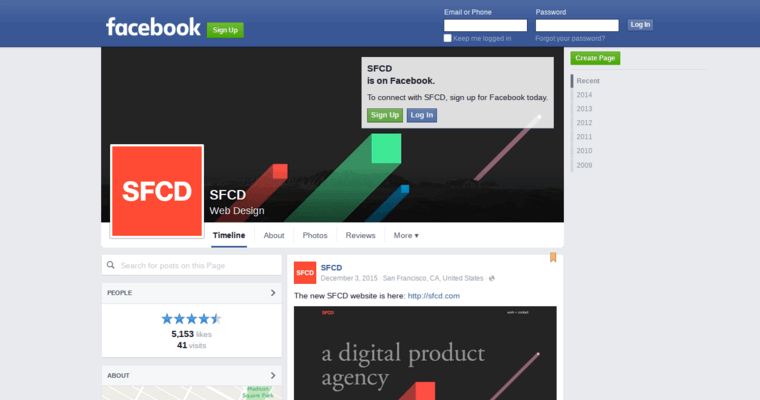 Facebook Page of Top Web Design Firms in New York: SFCD