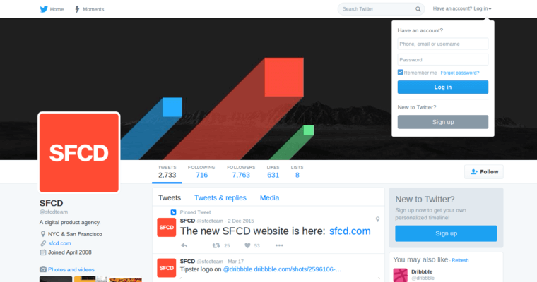 Twitter Page of Top Web Design Firms in New York: SFCD