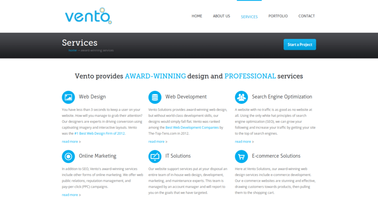 Service Page of Top Web Design Firms in New York: Vento Solutions