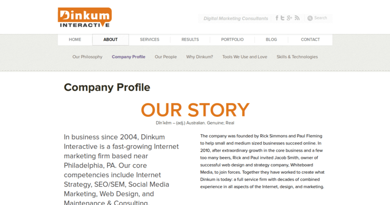 Company Page of Top Web Design Firms in Pennsylvania: Dinkum Interactive