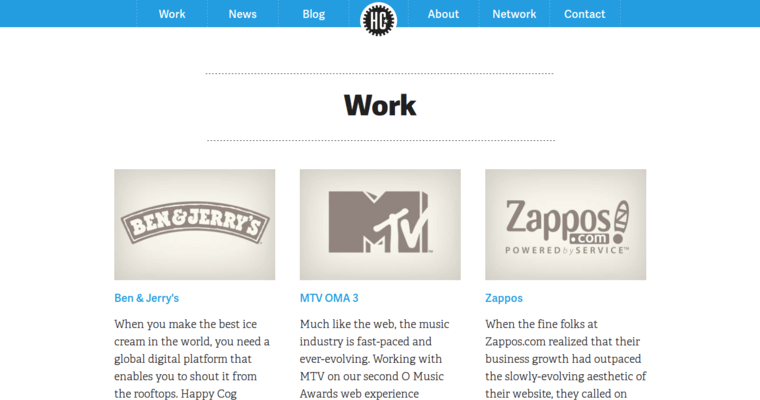 Work Page of Top Web Design Firms in Pennsylvania: Happy Cog