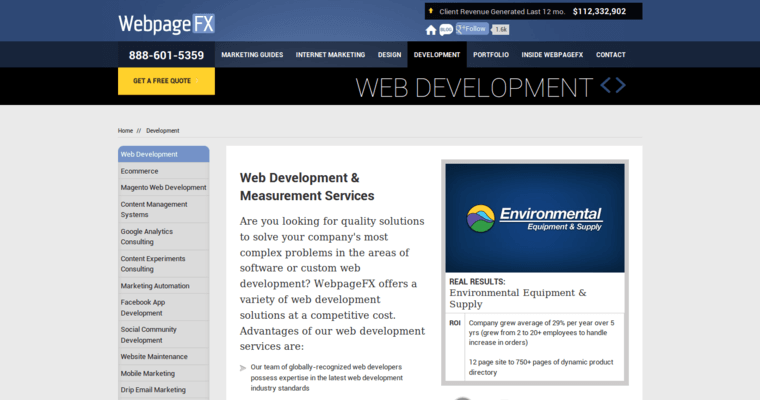 Development Page of Top Web Design Firms in Pennsylvania: WebpageFX
