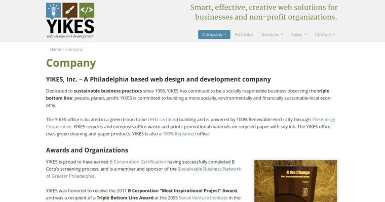 Company Page of Top Web Design Firms in Pennsylvania: Yikes