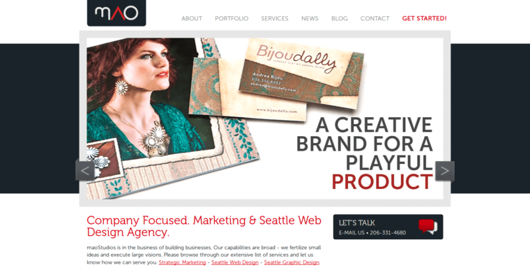 Home Page of Top Web Design Firms in Washington: maoStudios