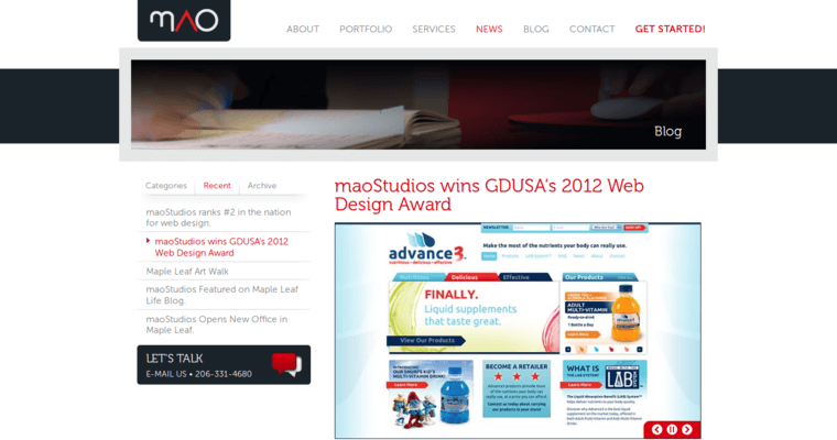 News Page of Top Web Design Firms in Washington: maoStudios